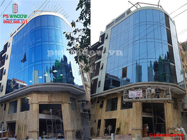 Thi công vách kính mặt dựng uốn cong tại Bala, Hà Đông, Hà Nội