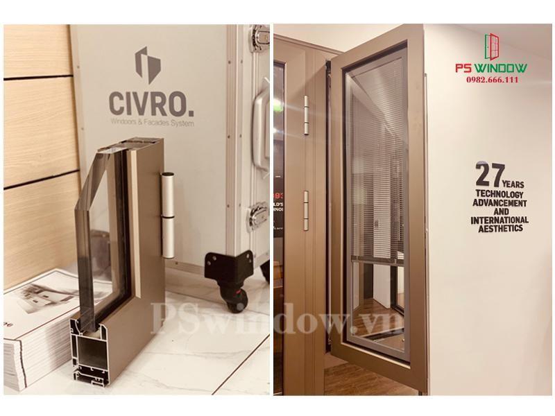 Mẫu cửa đi 1 cánh nhôm cầu Civro cách nhiệt
