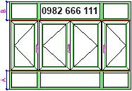 thi công cửa sổ nhôm kính có 4 cánh, có fix trên và fix dưới